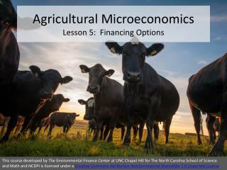 Agricultural Microeconomics Lesson 5:  Financing Options