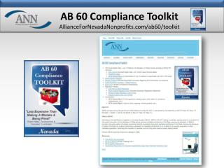 AB 60  Compliance Toolkit AllianceForNevadaNonprofits.com/ab60/toolkit