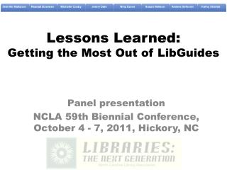 Lessons Learned: Getting the Most Out of LibGuides
