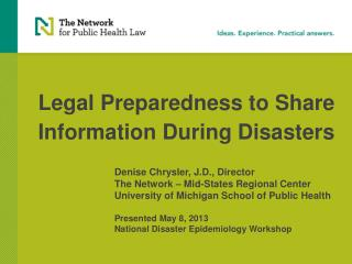 Legal Preparedness to Share Information During Disasters