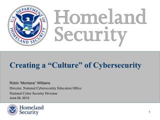 "Creating a ""Culture"" of Cybersecurity"