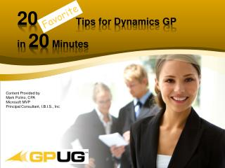 20 Tips  for Dynamics GP  in  20  Minutes