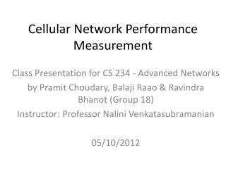 Cellular Network Performance Measurement