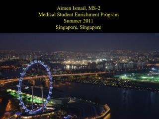Aimen  Ismail, MS-2 Medical Student Enrichment Program Summer 2011 Singapore, Singapore