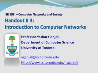 Handout # 3: Introduction to Computer Networks
