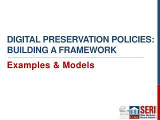 Digital preservation policies: Building a Framework