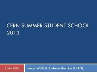 CERN SUMMER STUDENT SCHOOL 2013