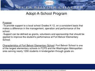 Adopt-A-School Program Purpose :