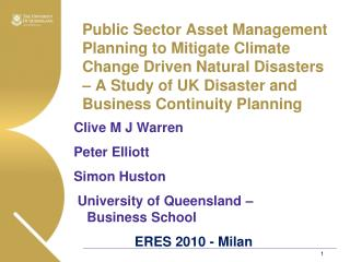 Public Sector Asset Management Planning to Mitigate Climate Change Driven Natural Disasters – A Study of UK Disaster an