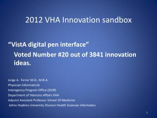 2012 VHA Innovation sandbox