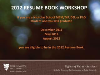 2012 Resume Book Workshop