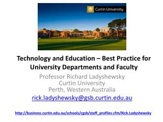 Technology and Education – Best Practice for University Departments and Faculty