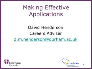 Making Effective Applications