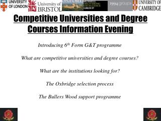Competitive Universities and Degree Courses Information Evening