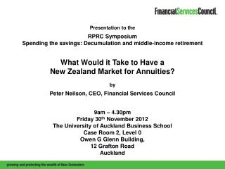 Presentation to the  RPRC Symposium Spending the savings: Decumulation and middle-income retirement What Would it Take