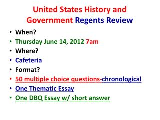 United States History and Government  Regents Review