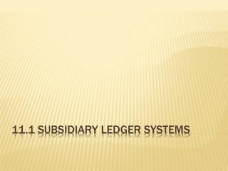 11.1 Subsidiary Ledger Systems