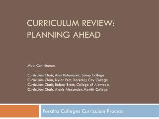 Curriculum Review: planning ahead