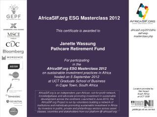 AfricaSIF.org ESG Masterclass 2012