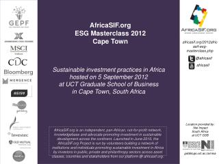 AfricaSIF.org  ESG  Masterclass  2012 Cape Town
