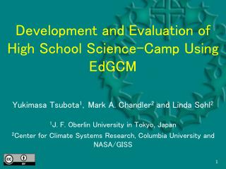 Development and Evaluation of High School Science-Camp Using EdGCM
