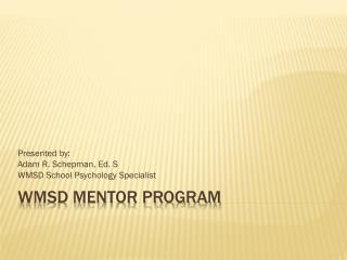 WMSD Mentor Program