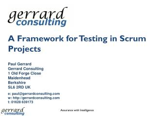 A Framework for Testing in Scrum Projects