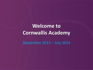Welcome to  Cornwallis Academy