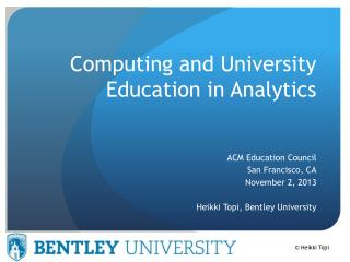 Computing and University Education in Analytics
