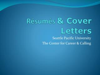 R�sum�s  & Cover Letters