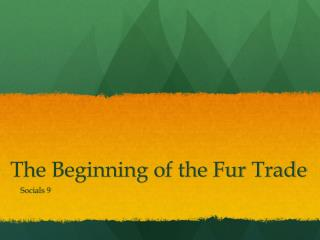 The Beginning of the Fur Trade