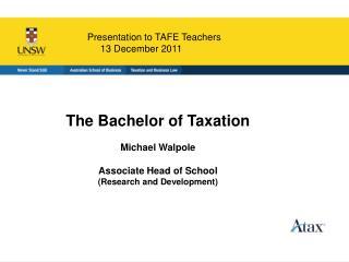 Presentation to TAFE Teachers 13 December 2011