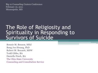 The Role of Religiosity and Spirituality in Responding to Survivors of Suicide