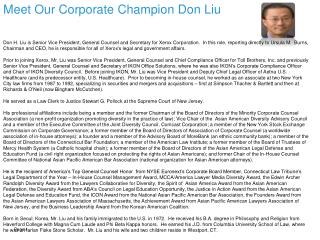 Meet Our Corporate  Champion Don  Liu