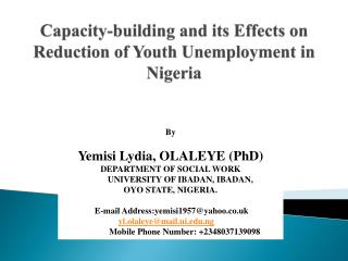 Capacity-building and its Effects on Reduction of Youth Unemployment in  Nigeria
