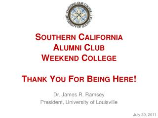 Southern California  Alumni Club  Weekend College Thank You For Being Here!