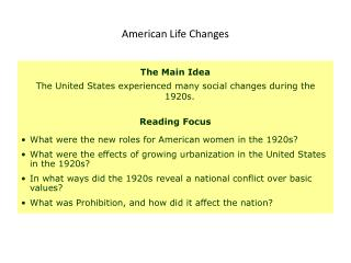 American Life Changes