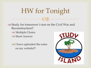 HW for Tonight