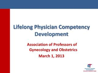 Lifelong Physician Competency Development