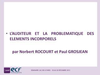 L'AUDITEUR ET LA PROBLEMATIQUE DES ELEMENTS INCORPORELS par Norbert ROCOURT et Paul GROSJEAN