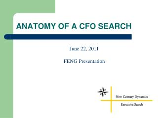 ANATOMY OF A CFO SEARCH