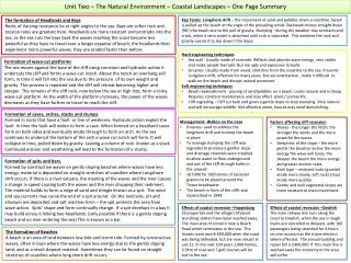 Unit Two – The Natural Environment – Coastal Landscapes – One Page Summary