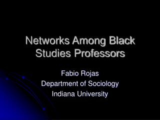 networks among black studies professors