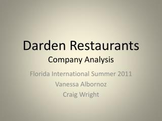 Darden Restaurants Company Analysis