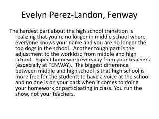 Evelyn Perez-Landon, Fenway