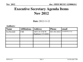 Executive Secretary Agenda Items  Nov 2012