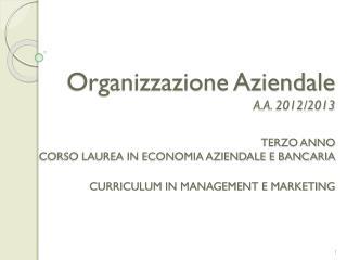 Organizzazione Aziendale A.A. 2012/2013 TERZO ANNO  CORSO LAUREA IN ECONOMIA AZIENDALE E BANCARIA  CURRICULUM IN MANAGE