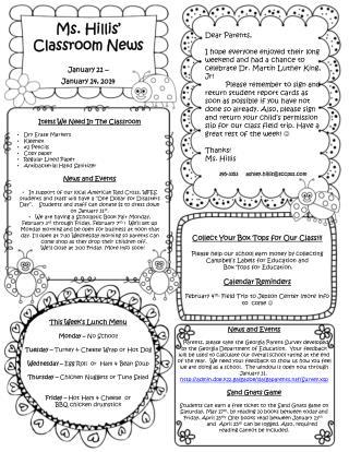 Ms.  Hillis '  Classroom News  January  21 –  January  24 ,  2014