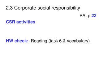 2.3 Corporate social responsibility