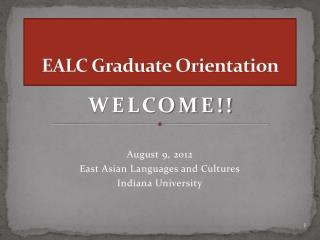 EALC Graduate Orientation